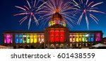 Small photo of San Francisco City Hall Celebrating Gay Pride Week Illuminated in Rainbow Colors and Fireworks Panoramic
