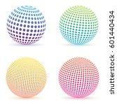 halftone dots gradient sphere.... | Shutterstock .eps vector #601440434