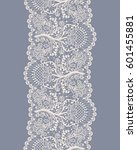 vertical seamless floral lace... | Shutterstock .eps vector #601455881