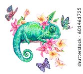 watercolor green chameleon with ... | Shutterstock . vector #601461725