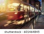 tram at night at prague. motion ... | Shutterstock . vector #601464845