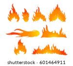 set of hand drawn fire and... | Shutterstock .eps vector #601464911