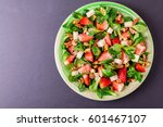 fresh salad with strawberry ... | Shutterstock . vector #601467107
