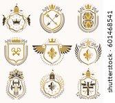 set of vector vintage emblems... | Shutterstock .eps vector #601468541