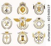 set of vector vintage emblems... | Shutterstock .eps vector #601468619