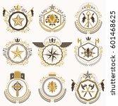 heraldic decorative emblems... | Shutterstock .eps vector #601468625