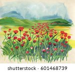 colorful meadow with watercolor ... | Shutterstock . vector #601468739