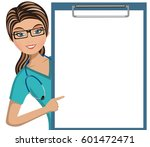 woman doctor pointing her... | Shutterstock .eps vector #601472471