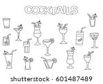 hand drawn cocktails set....