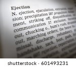 Small photo of THESAURUS PAGE SHOWING DEFINITION OF WORD EJECTION, TAKEN IN CLECKHEATON, WEST YORKSHIRE, UK, 30TH MARCH 2005