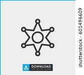 sheriff icon. simple outline... | Shutterstock .eps vector #601496609