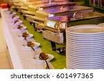 catering food wedding event... | Shutterstock . vector #601497365
