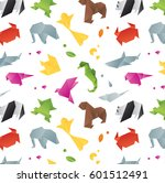 animals origami pattern snake ... | Shutterstock .eps vector #601512491
