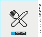 fork and knife icon. simple...   Shutterstock .eps vector #601517651