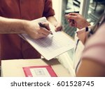 delivery messenger carrying... | Shutterstock . vector #601528745