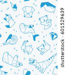 seamless origami pattern with... | Shutterstock .eps vector #601529639