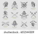 set of monochrome knights... | Shutterstock .eps vector #601544309