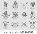 set of monochrome knights... | Shutterstock .eps vector #601544381