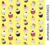 cupcake pattern on pastel... | Shutterstock . vector #601556021
