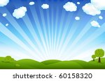Stock vector beautiful landscape with trees and clouds vector illustration 60158320