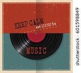 retro paper poster with vinyl...   Shutterstock .eps vector #601598849