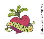 vector image of a vegan emblem... | Shutterstock .eps vector #601601789