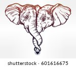 vintage style vector elephant... | Shutterstock .eps vector #601616675