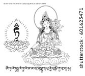 white tara sits in a meditation ...   Shutterstock .eps vector #601625471