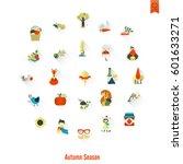 Set Of Flat Autumn Icons....