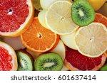 fruit textures. kiwi orange...   Shutterstock . vector #601637414