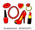 red kiss lips  nail polish ... | Shutterstock .eps vector #601641671