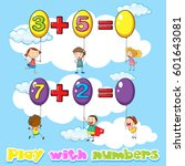 kids adding numbers on balloons ... | Shutterstock .eps vector #601643081
