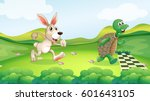 rabbit and turtle in the race... | Shutterstock .eps vector #601643105
