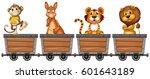 wild animals in mining carts...   Shutterstock .eps vector #601643189