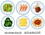 different types of food on... | Shutterstock .eps vector #601646105