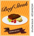 beef steak on poster... | Shutterstock .eps vector #601646264