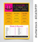cafe bistro menu template with... | Shutterstock .eps vector #601656959