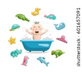 joyful child who bathes in a... | Shutterstock .eps vector #601657091