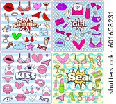 chic fashion summer patch... | Shutterstock .eps vector #601658231