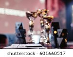 cups in stage color lighting... | Shutterstock . vector #601660517
