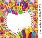 happy birthday color vector... | Shutterstock .eps vector #601662797