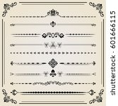 vintage set of vector... | Shutterstock .eps vector #601666115