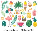 set of cute summer icons  food  ... | Shutterstock .eps vector #601676237