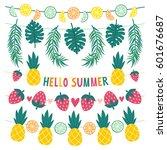 vector set of beautiful summer... | Shutterstock .eps vector #601676687