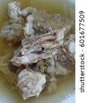 close up photo of pork soup  | Shutterstock . vector #601677509