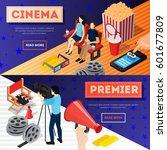 cinema 3d isometric banners... | Shutterstock .eps vector #601677809