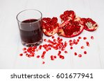 pomegranate juice in a glass... | Shutterstock . vector #601677941