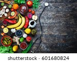 vegetables  fruits and... | Shutterstock . vector #601680824