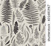 seamless pattern. ferns.... | Shutterstock .eps vector #601681967