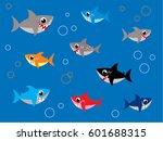 cute shark wallpaper vector | Shutterstock .eps vector #601688315